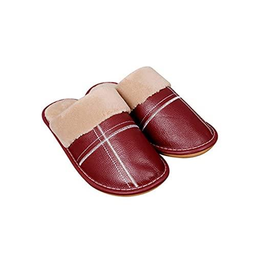 Haoooanmtx Zapatillas Casa Mujer, PU Cuero Impermeable Lluvia Corta de Peluche Zapatillas, Zapatos de algodón Ocio Mujer Interior Mujer (Color : Wine, Shoe Size : 39-40)