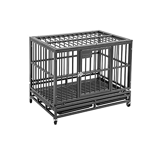 PUPZO Heavy Duty Dog Cage Crate Kennel Carbon Steel with Four Wheels Strong Metal for Large Dogs Easy to Install (38in Black)
