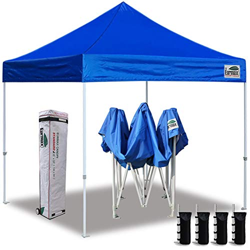Eurmax 10'x10' Ez Pop up Canopy Tent Commercial Instant Shelter with Heavy Duty Roller Bag (Royal Blue)