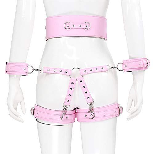 weiß 4-teiliger Anzug Bund Leggings einteilig Sexy Kleidung PU Leder Punk Gürtel Bondáge Gürtel einstellbare Elastizität
