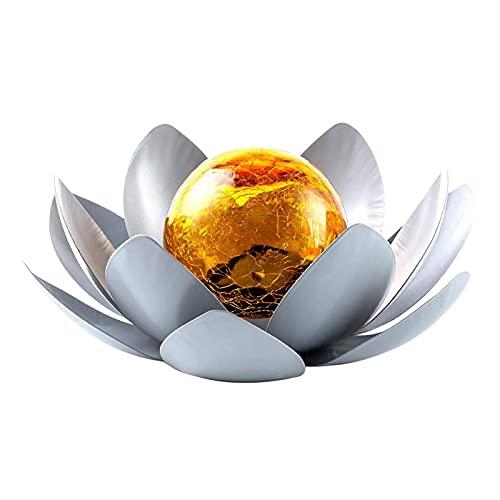 Tongdejing Solar Lights Outdoor, Amber Crackle Lotus Decoration Metal LED Flower Lights for Decor Tabletop Ground Yard Patio Walkway Landscape, Metal Glass LED Lotus Flower Lights