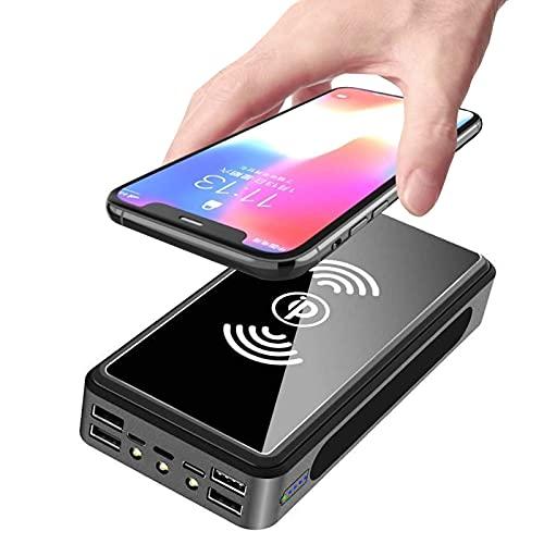 PWQ-01 Cargador Portátil 100000mah Solar Cargador 10W Wireless Power Bank Solar Portátil Batería Externa, Banco de Energía, Cargador Solar con 4 Entradas 5 Salidas Viajar para i-Phone, Samsung,Negro