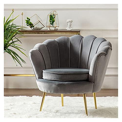 HAQTXI Moderne Blütenblatt-förmige Samt-Barrel-Stuhl Akzent Sessel mit Metallbeinen minimalistische Sofa-Stühle leichte Single Sofas für Wohnzimmer Schlafzimmer Home Office (Color : Grey)