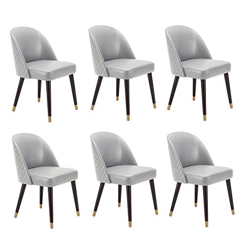 CHITA Mid-Century Modern Dining Chair, Accent Upholstered Side Chairs Kitchen Room Leather Chair, Set of 6, Creamy Gray