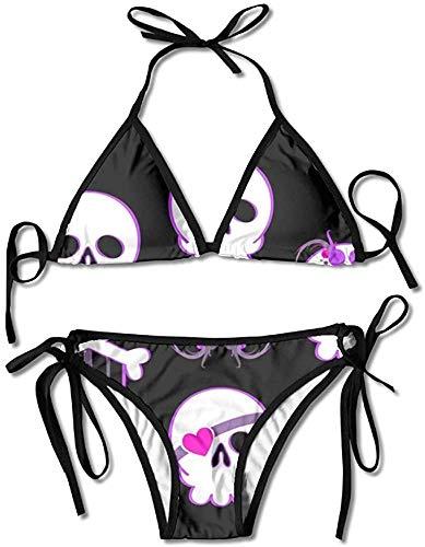 Emo Skulls Funny Womens Wrap Top Bottom Bathing Suit Bikini Swimwear 2 Piece Sexy SwimsuitOne Size