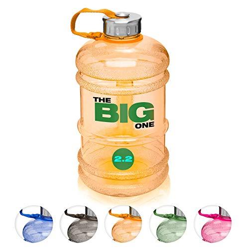 XXL Trinkflasche/Water Jug/Wasser Gallone / 2,2Liter Sportflasche BZW. Wasserflasche aus hochwertigen Tritan (BPA-frei) perfekt für Crossfit, Fitness, Bodybuilding, MMA & Krafttraining/orange