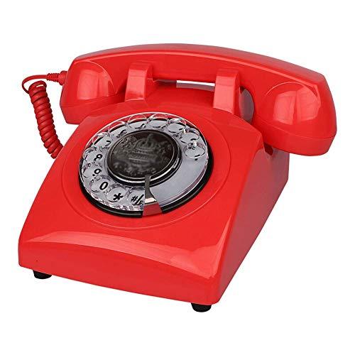 LIUNA Teléfonos Analógicos Y DECT con Cable, Teléfono Fijo Retro Al Estilo De La Década De 1970, Cable Rizado, Timbre Auténtico, 4 Colores(Color:Rojo)