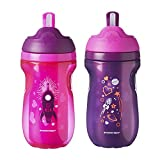 Tommee Tippee Insulated Toddler Straw Sippy Cup Tumbler | 12+ Months, Pink & Purple – 2 Count