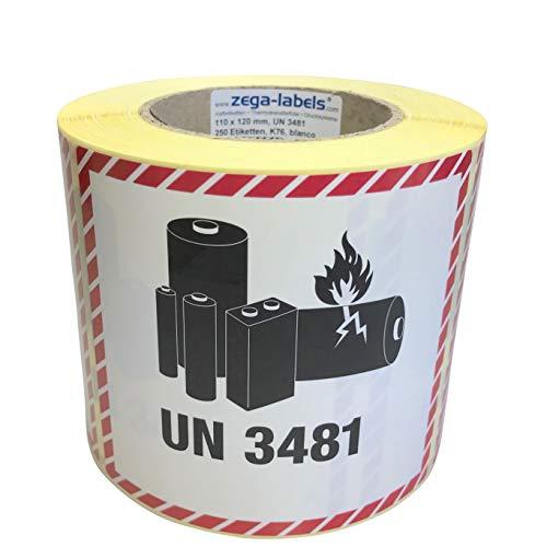 Gefahrgutetiketten auf Rolle - UN 3481 - Lithium-Ionen-Batterien - ohne Telefonnummer/zum selbstbedrucken - 250 Stück je Rolle - 120 x 110 mm - Haftpapier - Kern 76 mm für Industriedrucker