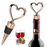 iPobie 3 Stücke Weinverschluss, Flaschenverschluss herzförmige Wein Stopfen für die Weinsammlung Wein, Champagner, Glasflaschen