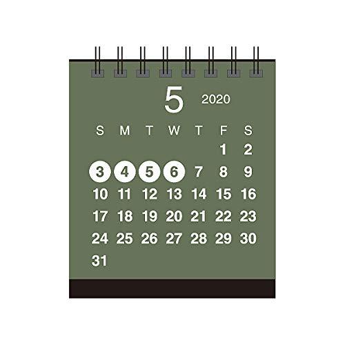卓上カレンダー【2020年 1月始まり】クラフト ミニスタンド グリーン CT-577
