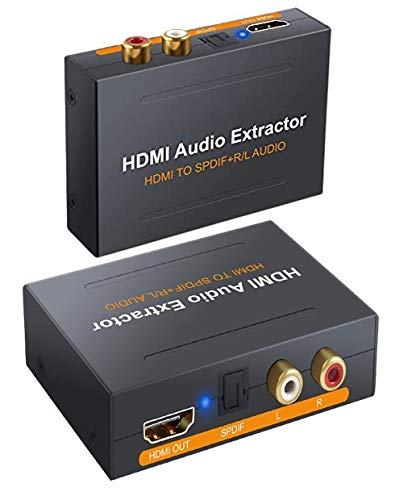 HDMI Audio Extractor,Udigital HDMI to HDMI + Optical Toslink(SPDIF) + RCA(L/R) Stereo Analog Outputs Video Audio Splitter Converter Support 3D for PS4 PS5 Xbox One DVD Blu-ray Player HD TV Projector