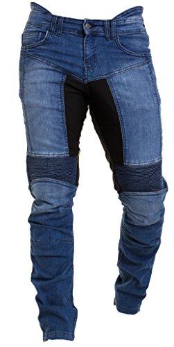 Qaswa Herren Motorradhose Jeans Motorrad Hose Motorradrüstung Schutzauskleidung Motorcycle Biker Pants, Blau, 38W / 32L