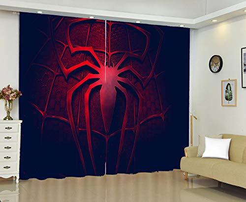 Gardinen Verdunkelungsvorhang Blickdicht - 3D Spiderman Gardinen Thermogardinen Geräuschreduzierung Vorhang mit Ösen für Schlafzimmer Kinderzimmer, 2 x 116 x 137cm, 2er Set