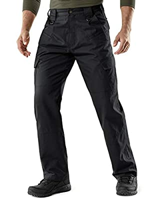 CQR Men's Tactical Pants, Water Repellent Ripstop Cargo Pants, Lightweight EDC Hiking Work Pants, Outdoor Apparel, Duratex(tlp106) - Black, 34W x 30L
