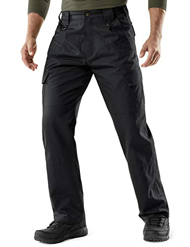 CQR Men's Tactical Pants, Water Repellent Ripstop Cargo Pants, Lightweight EDC Hiking Work Pants, Outdoor Apparel, Duratex(tlp106) - Black, 36W x 32L