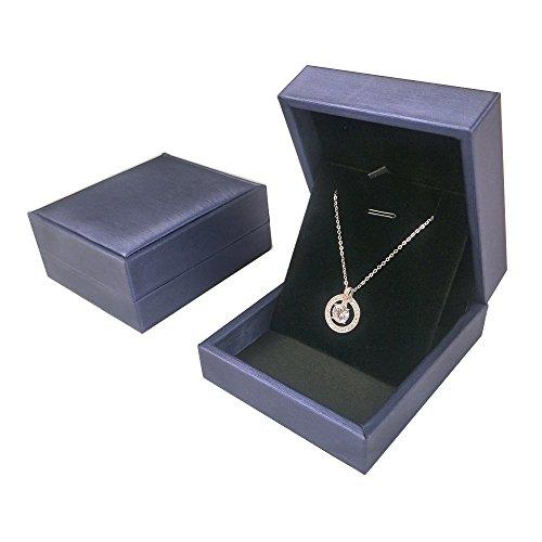 DesignSter Premium Pendant Necklace Box/ Elegant Long Chain Jewelry Display Storage Case for Wedding, Engagement, Anniversary, Ceremony