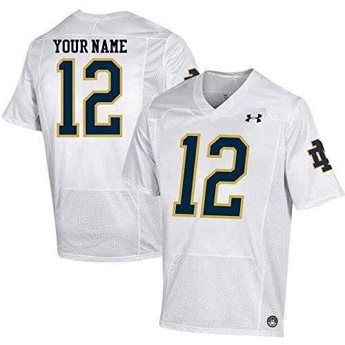 Custom Notre Dame Fighting Irish White Football Jersey (X-Large)