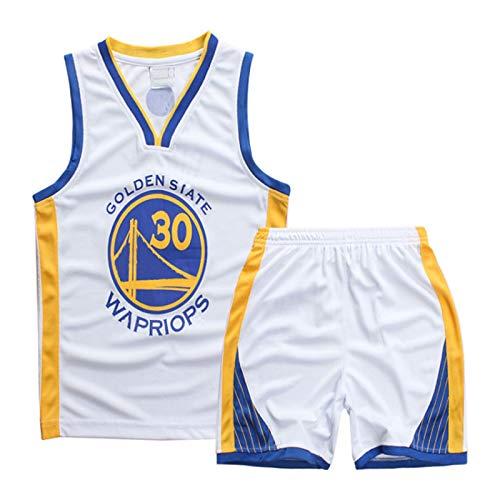 JXILY Curry # 30 Warriors Kids Boys Baloncesto Baloncesto 2 Piezas Summer Beach Manga Corta Conjunto Camisa Bordada Camisetas de fútbol,Blanco,S