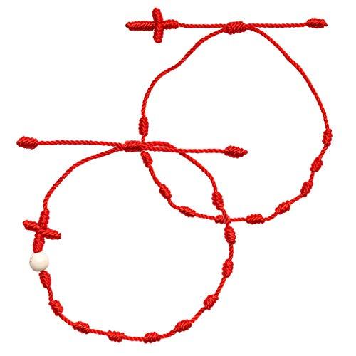 PHILSP Pulsera de Hilo 2 Piezas Cruz 7 Nudos Pulsera de Hilo Rojo Amuleto de la Buena Suerte Pulseras de la Amistad Kit D