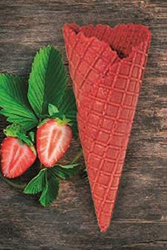Süße Eiswaffeln Erdbeer Geschmack - 135xØ52mm - 42 Stück