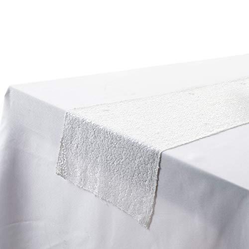 URFEDA Runner da tavolo, con paillettes luccicanti, rettangolare, tovaglia per festa di matrimonio, compleanno, Natale, 30 x 180 cm, bianco