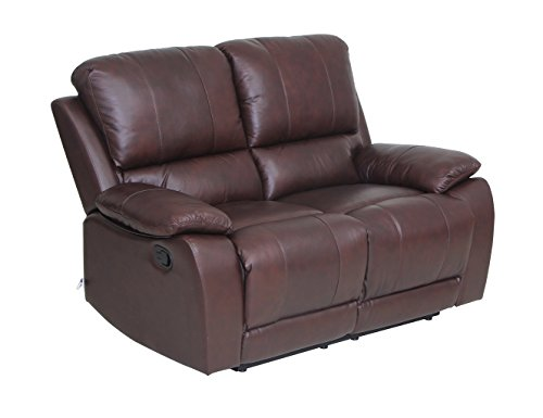 VH FURNITURE Classic and Traditional Top Grain Leather Sofa Set Loveseat with Overstuff Armrest/Headrest, 2 Seater, Brown