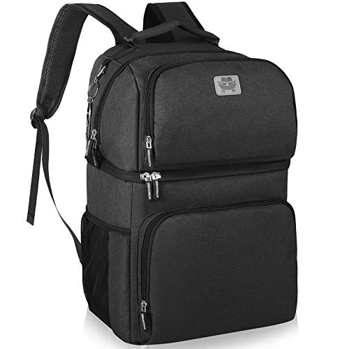 Double Deck Insulated Cooler Backpack, Leakproof Spacious Lightweight Soft Cooler Bag Backpack Cooler for Men Women to Work Travel Hiking Beach, Black