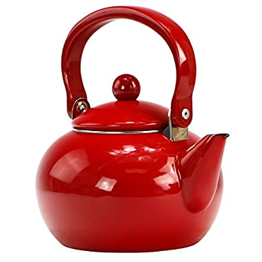 Calypso Basics by Reston Lloyd Enamel-on-Steel Tea Kettle, 2-Quart, Red