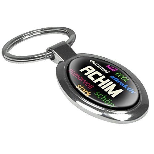 Schlüsselanhänger mit Namen Achim - Motiv Positive Eigenschaften - Namensschlüsselanhänger, personalisierter Anhänger, Talisman, Anhänger, Chrom