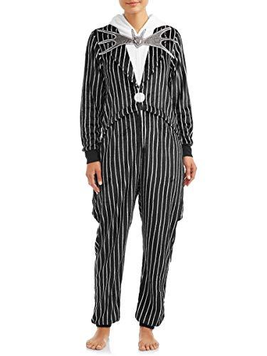 Damen Pyjama Nightmare Before Christmas Jack Skellington Union mit Taschen, einteilig -  Schwarz -  X-Large