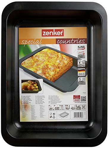 Zenker 7503 Plat à Lasagne Special Countries 36,5x27x5 cm Noir, Acier Inoxydable, 5 x 27 x 5 cm