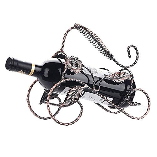 Casier à Vin Support de Table empilable en métal sur Pied de comptoir 1 Porte-Bouteilles de vin de Style rétro pour Cellier de Cuisine (Couleur : Bronze, Size : 25.5 * 11.5 * 21cm)