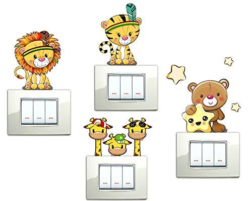 Pegatinas pared niños oso Tigre León sabana animales adhesivo dormitorio jirafa Stickers decoración interior Vinilo Decorativas Adhesiva Pared Dormitorio Salón Guardería habitación Infantiles