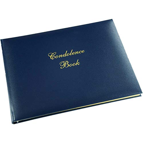 """Funeral Guest Book 'Condolence Book' - Formal Inner Page Format - Presentation Boxed - Blue - Size: 10.5"""" x 7.6"""""""