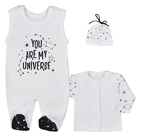 Fifiloo Baby 3-delige babyset romper/shirt/muts voor jongens en meisjes, kledingset, verschillende maten