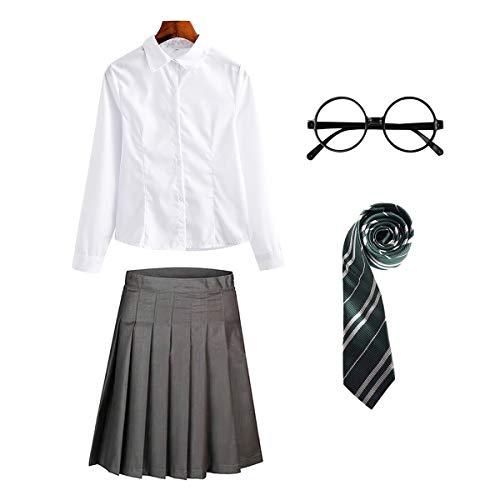 FStory&Winyee Zauberer Set Bluse Rock Weste Krawatte Brille Kostüm Zubehör für Kinder Erwachsene Zubehör Set Striped Tie Gestreifte Krawatte zum Karneval Fasching Halloween