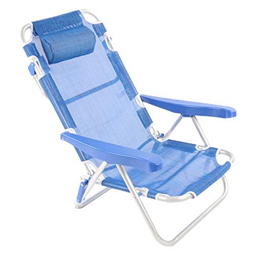 Shopyx spiaggina mare pieghevole 47x59 h 83 richiudibile Con poggiatesta da Spiaggia Piscina Campeggio, in alluminio, compatta e leggera.