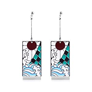 Demon Slayer Cosplay Earrings – Kimetsu No Yaiba Statement Acrylic Drop Earrings – Good Ideal For Women and Girl