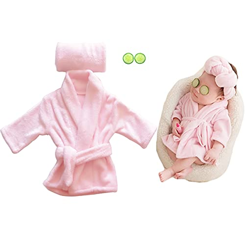 Newborn Baby Photography Props Cute Bathrobes Outfits Photo Prop Bath Towel Blanket Costume Sets for Unisex Baby Photo Shoot(Pink)