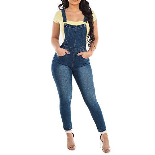 Mujer Mono Skinny Jeans Petos de Pantalones, Morbuy Casual Largo Bolsillos Elegante Azul Oscuro Jumpsuits Moda Playa Fiesta Noche Cóctel Slim Fit Overoles Denim Pantalón (S,Azul Oscuro)