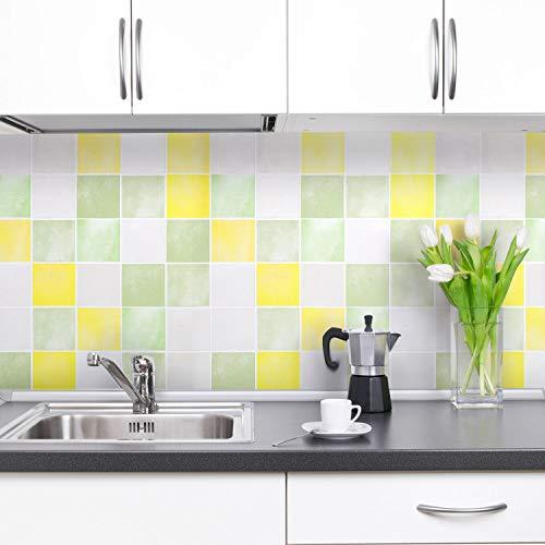 iKINLO Fliesen Klebefolie selbstklebend Küchenrückwand Folie Glatt Küchenfolie PVC wasserfest DIY Dekofolie Fliesenaufkleber für Küchen Bädern Wand 0.61 * 5M