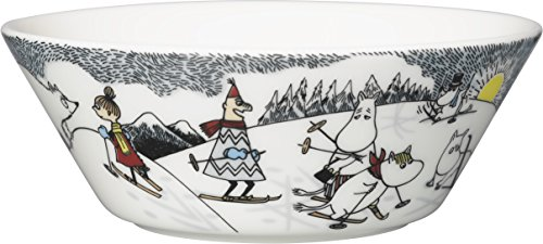 ARABIA ( Arabic ) Moomin 2014 Winter bowl Skiing with Mr.Brisk 15cm by Arabia