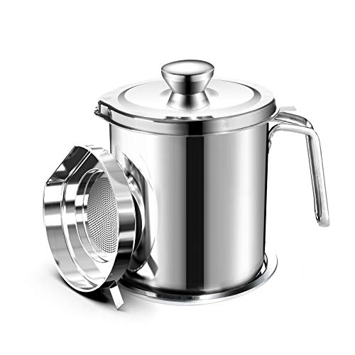 Chihee Oil Strainer Pot Grease Can 2 L Stainless Steel Oil Storage Can Container with Fine Mesh Strainer Dust-Proof lid Non-Slip Plate Suitable for Storing Frying Oil and Cooking Grease