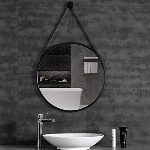 FKDENA Mur Rond Noir Miroirs avec Sangles, Cadre en métal de décoration Miroirs for Salle de Bain Salon Chambre, 60 cm (23.6inch) Miroirs