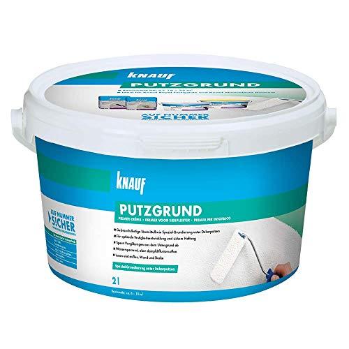 Knauf 5759 2 L Putzgrund, gebrauchsfertige Grundierung, Haftvermittler vor dem Auftragen von mineralischen Dekorputzen, atmungsaktiv, lösemittelfrei für Innen-und Außenbereiche, Weiß