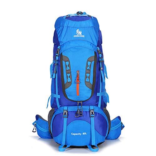 80L Viaje al Aire Libre Escalada Senderismo Bolsa Deporte Mochila Camping Mochila Nailon montaña Gran Capacidad Blue B