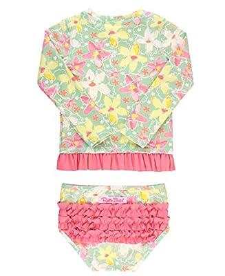 RuffleButts Baby/Toddler Girls Waltzing on Water Long Sleeve Rash Guard Bikini - 6-12m