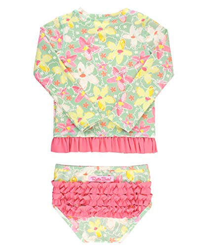 RuffleButts Baby/Toddler Girls Waltzing on Water Long Sleeve Rash Guard Bikini - 3-6m