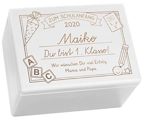 LAUBLUST Holzkiste mit Gravur - Personalisiert mit Datum | Name | WIDMUNG - Weiß, Größe XL - Schreibtafel Motiv - Geschenkkiste zur Einschulung
